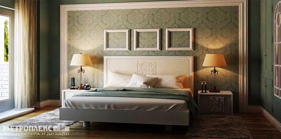 Дизайн проект интерьера спальни с использованием трафарета