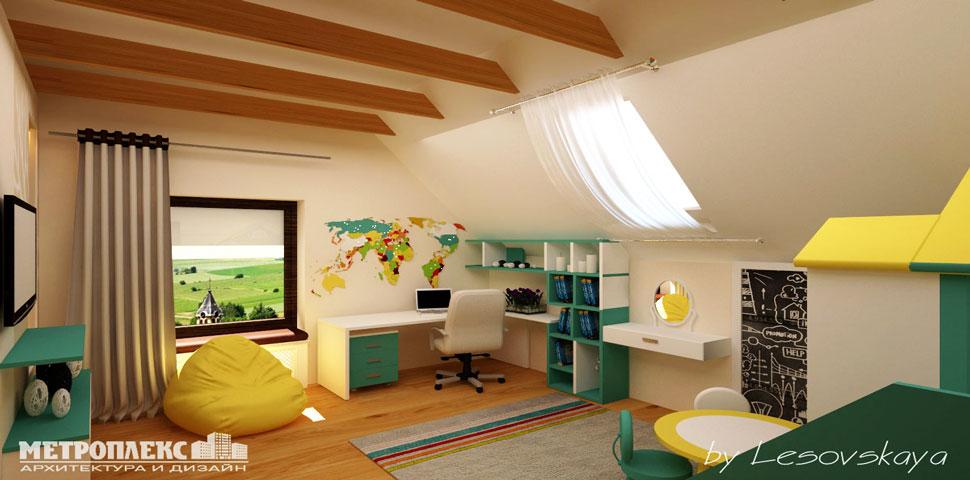 Авторский проект дизайна интерьера детской комнаты от Метроплекс