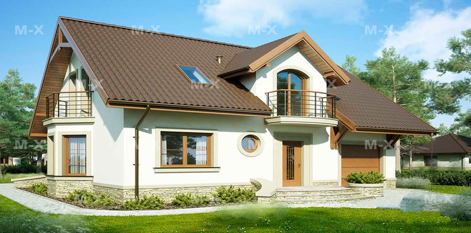 Проект красивого дома с балконом от компании Метроплекс