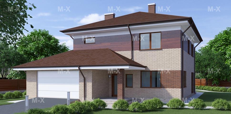 Проект современного двухэтажного коттеджа с большими окнами