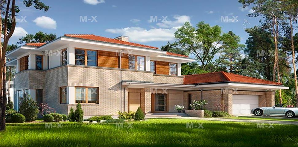 Готовые проект двухэтажного дома с гаражом