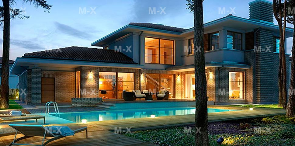 Современный двухэтажный коттедж с террасой и гаражом от Метроплекс
