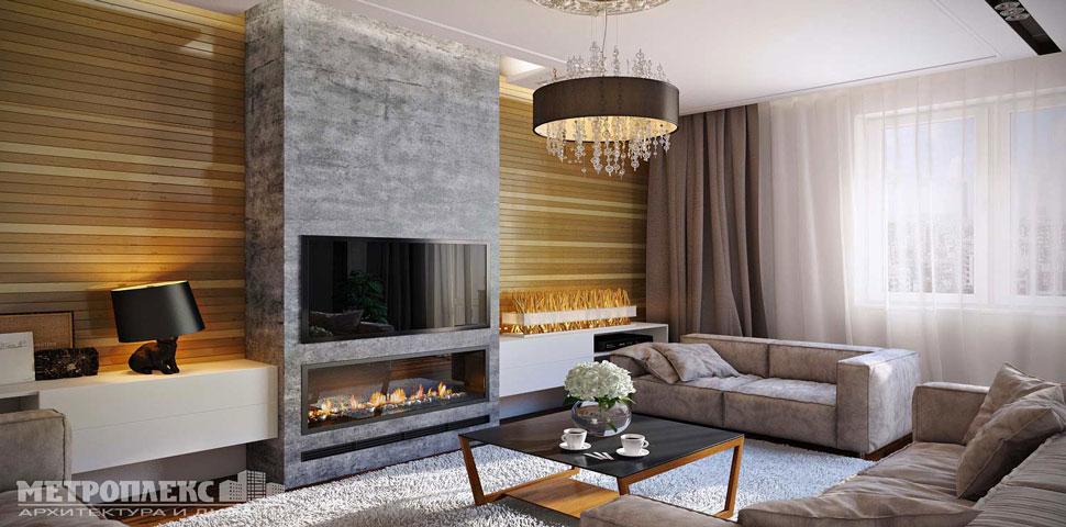Идея дизайна интерьера и ремонта гостиной от Метроплекс