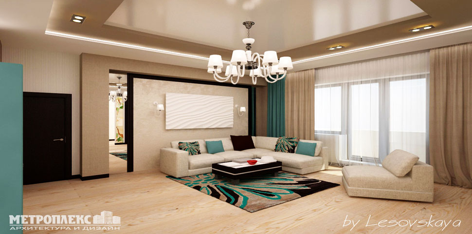 Дизайн интерьера 3-х комнатной квартиры от Метроплекса