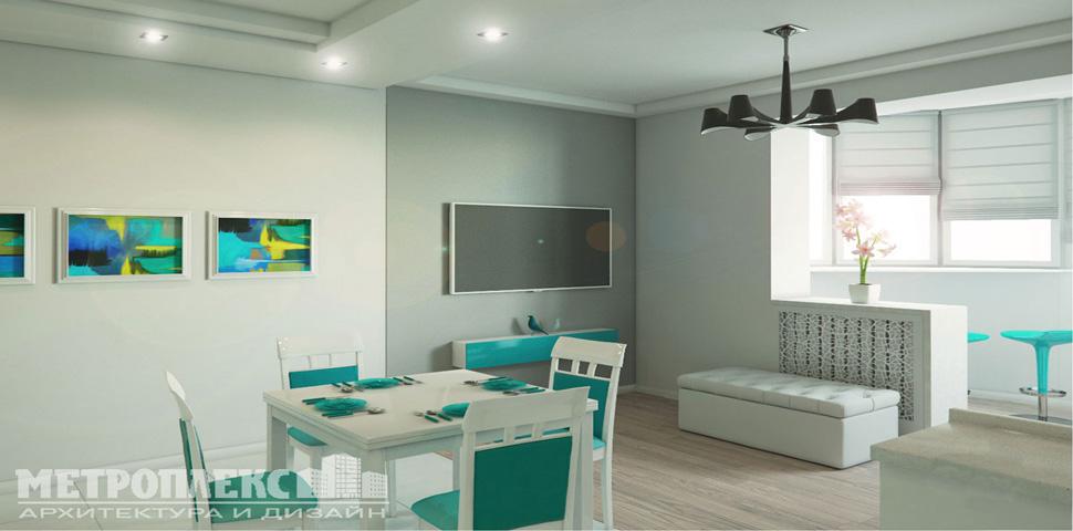 Дизайн проект интерьера кухни-студии от Метроплекс