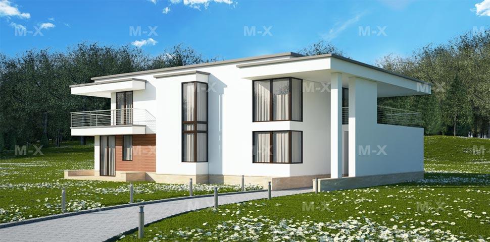 Дизайн плоской кровли для проекта постройки двухэтажного дома