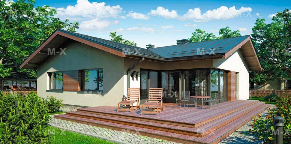Проект современного одноэтажного дома с окнами в пол от Метроплекса