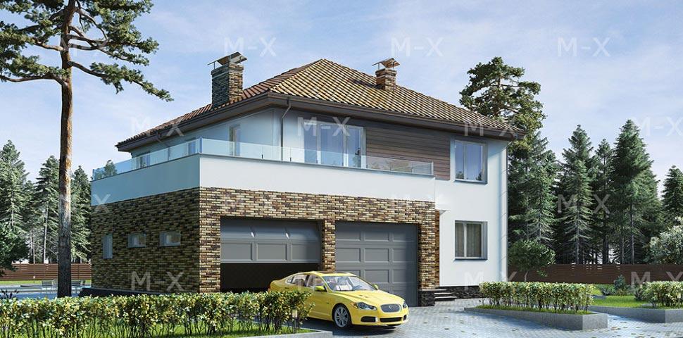 Популярный проект двухэтажного коттеджа с гаражом