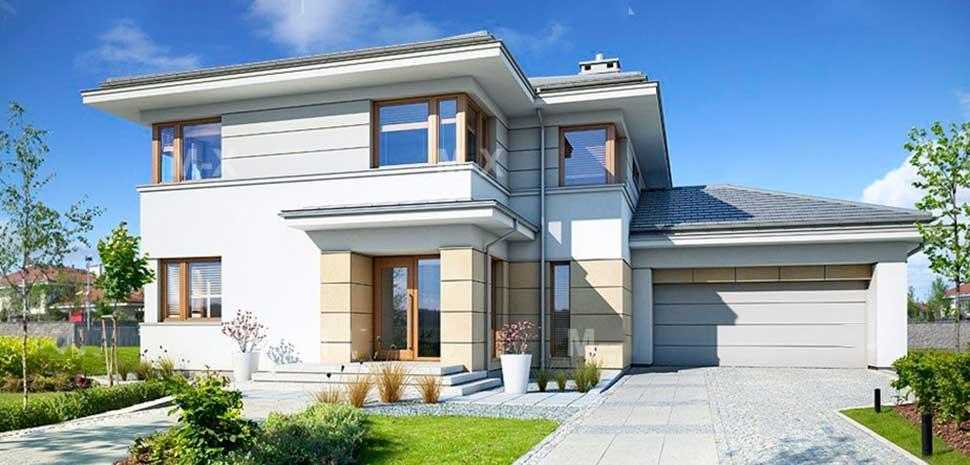 Проект двухэтажного дома с гаражом MX83