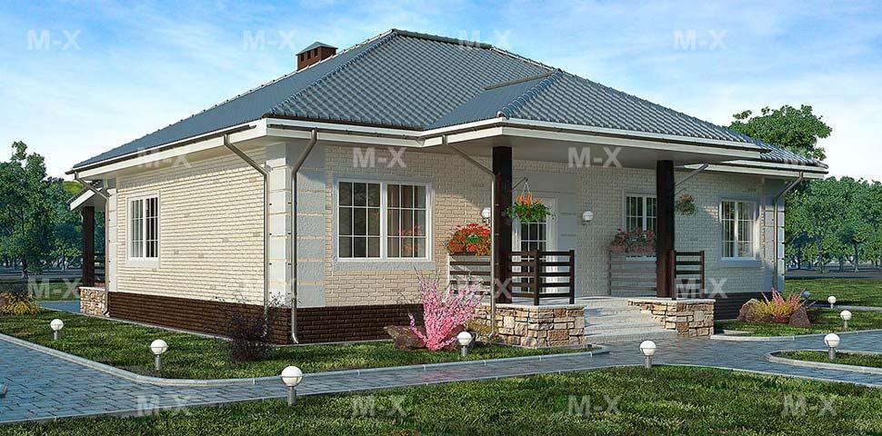 Проект одноэтажного дома с террасой от Метроплекс