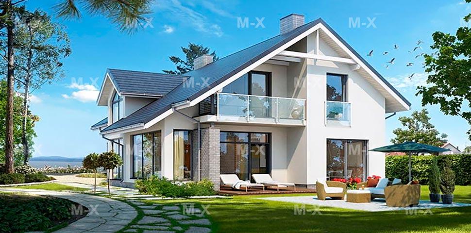 Проект современного дома с мансардой и большими окнами от Метроплекс