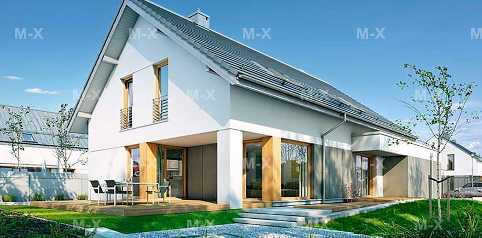 Архитектура уютного дома с мансардой и гаражом