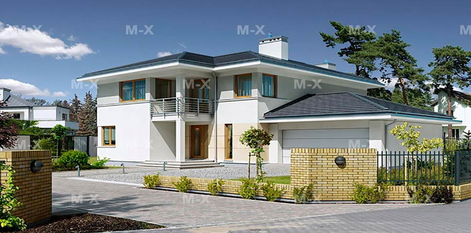 Современный двухэтажный коттедж в средиземноморском стиле