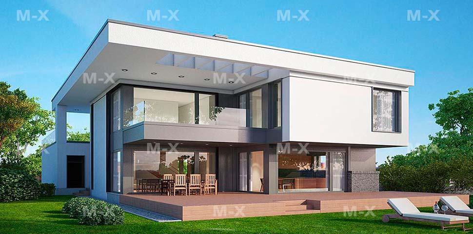 Проект современного двухэтажного коттеджа оригинальной архитектуры