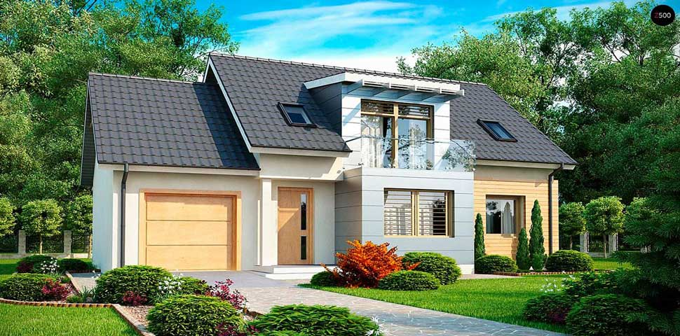 Популярный проект дома с мансардой и с эркером