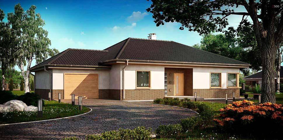 Проект одноэтажного современного дома из газобетона