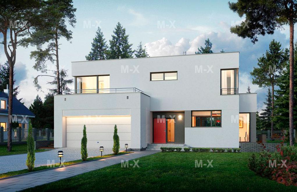 C189 Проект двухэтажного дома с гаражом в стиле Райта