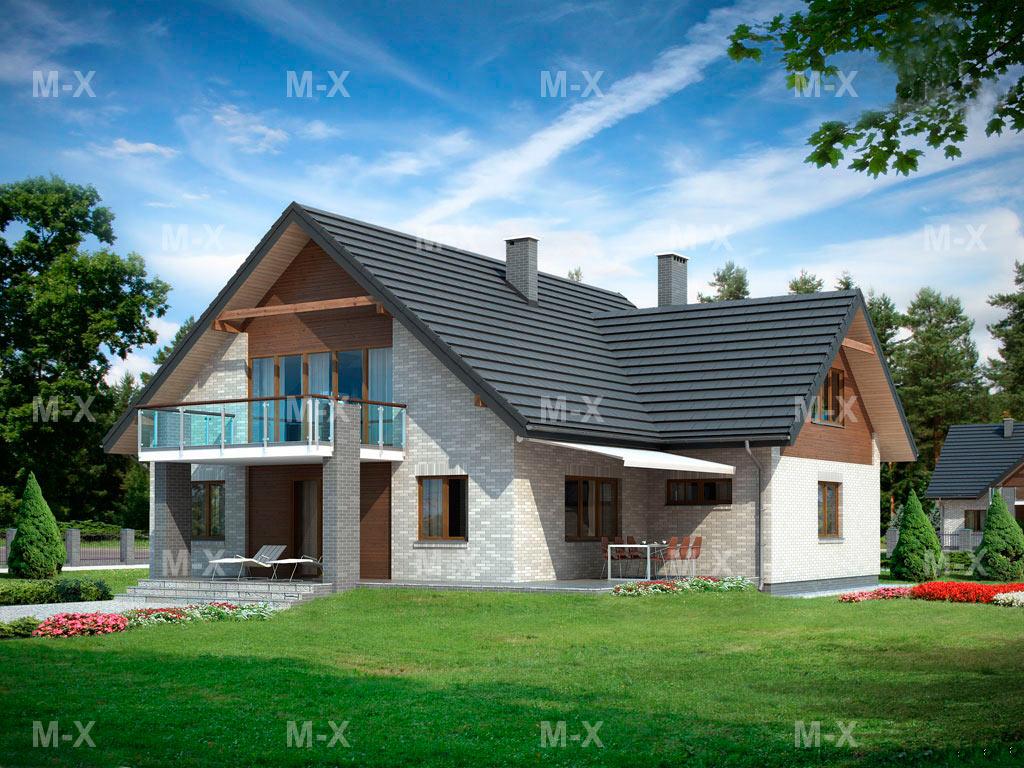 Mx45: классический дом с мансардой и двумя балконами метропл.