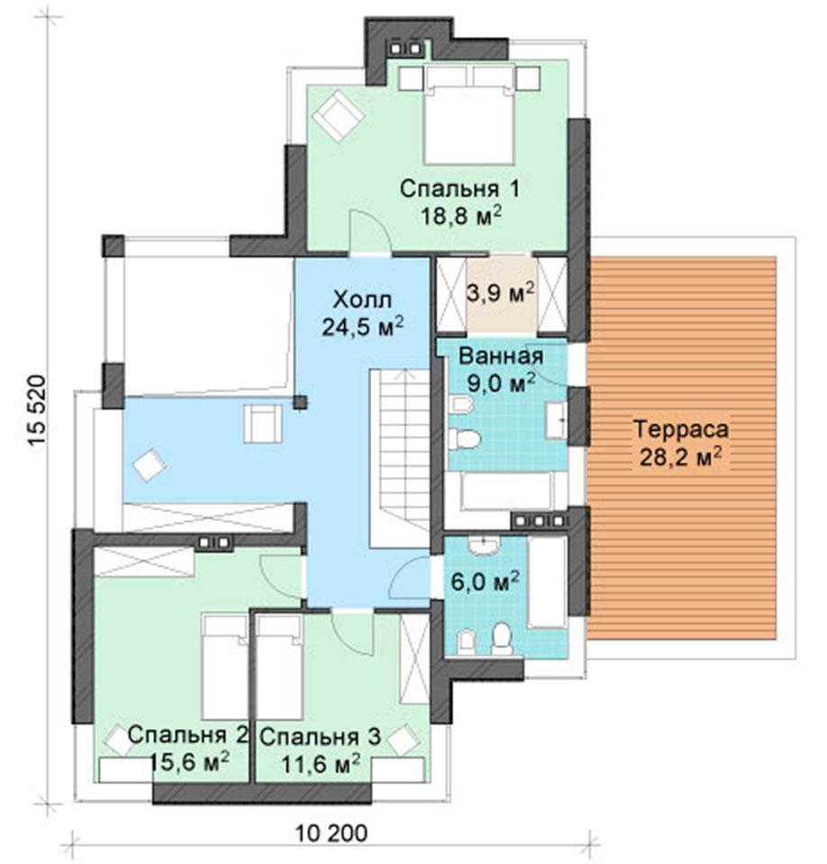 Планировка второго этажа дома по проекту MX83